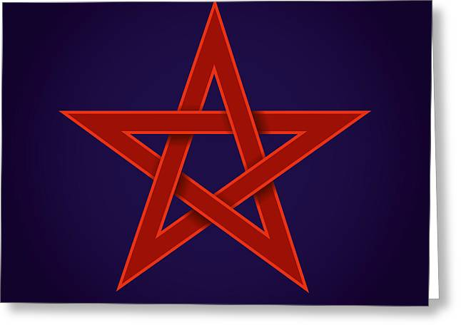 Red Pentagram On Blue Background Greeting Card