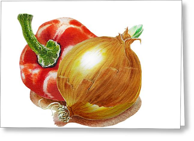 Red Pepper And Yellow Onion Greeting Card by Irina Sztukowski