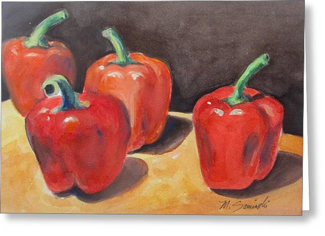 Red Peppers Greeting Card by Melinda Saminski