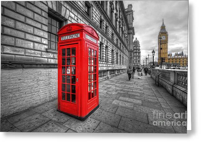 Red Phone Box And Big Ben Greeting Card