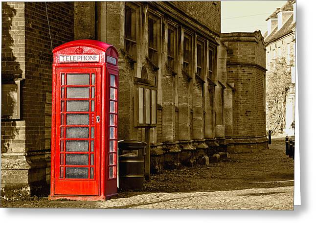 Red Phone Box Greeting Card by Scott Carruthers
