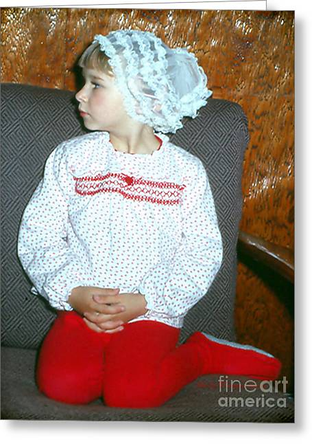 Red Pjs And Curlers Greeting Card by Shelly Weingart