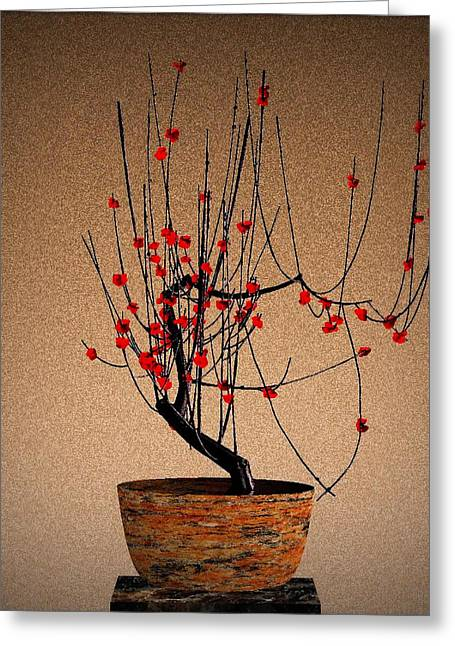 Red Plum Blossoms Greeting Card by GuoJun Pan