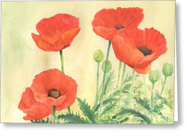 Red Poppies 3 Colorful Watercolor Poppy Floral Original Art Flowers Garden Artist K. Joann Russell Greeting Card