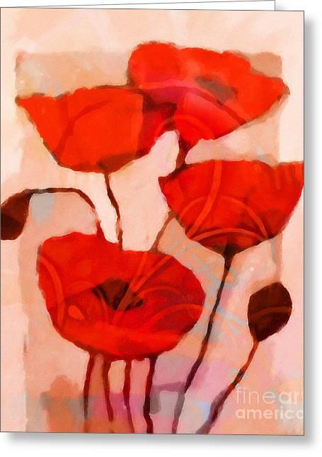 Red Poppies Art Greeting Card by Lutz Baar