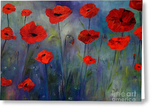 Red Poppies Blue Fog Greeting Card by Claire Bull