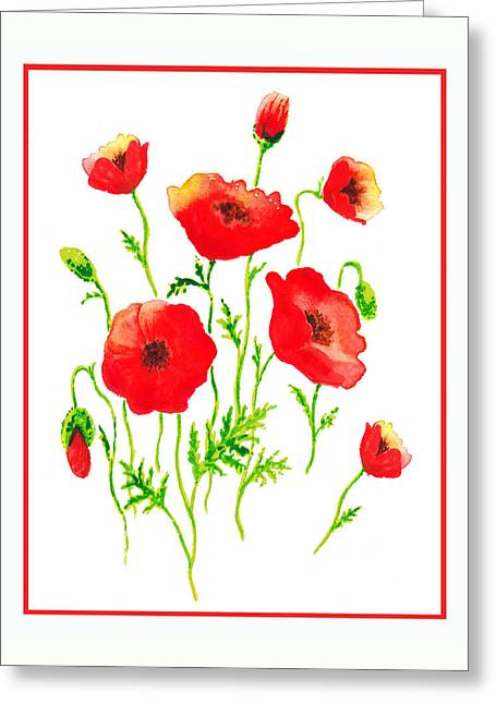 Red Poppies Botanical Design Greeting Card by Irina Sztukowski