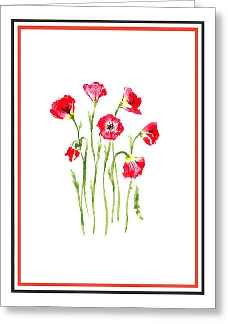 Red Poppies Bunch Greeting Card by Irina Sztukowski