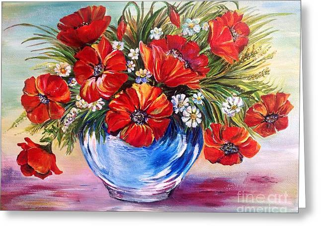 Greeting Card featuring the painting Red Poppies In Blue Vase by Iya Carson