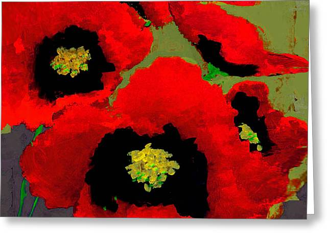 Red Poppies On Olive Greeting Card