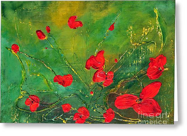 Greeting Card featuring the painting Red Poppies by Teresa Wegrzyn