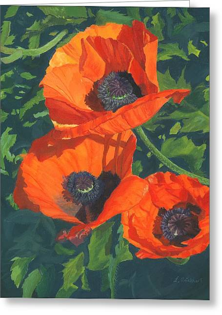 Greeting Card featuring the painting Red Poppies Three by Lynne Reichhart