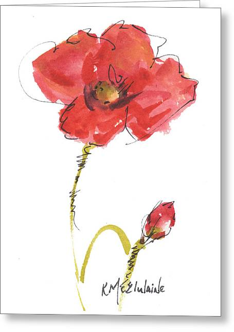 Red Poppy And Bud Greeting Card by Kathleen McElwaine