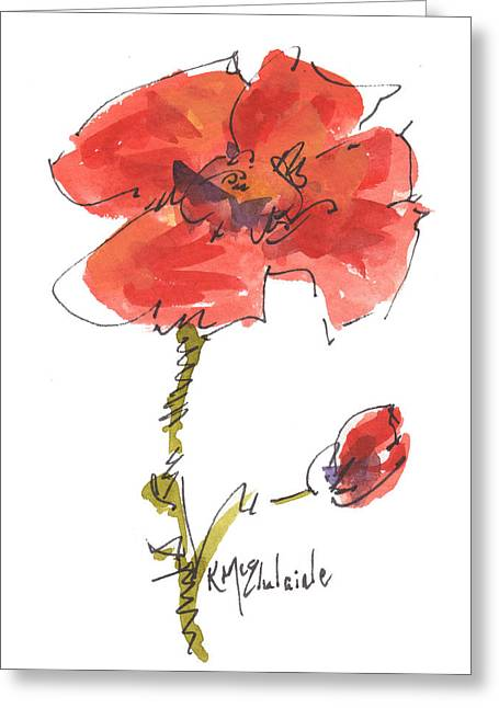 Red Poppy And Pal Greeting Card by Kathleen McElwaine