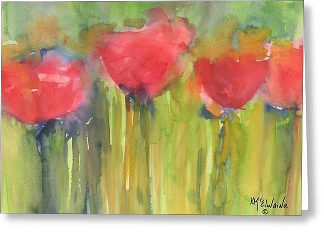 Red Poppy Elegance Greeting Card by Kathleen McElwaine