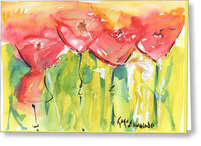 Red Poppy Party Greeting Card by Kathleen McElwaine