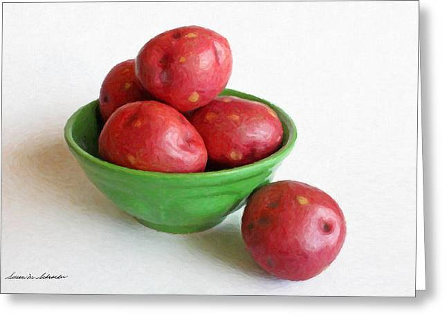 Red Potatoes In A Green Bowl Greeting Card