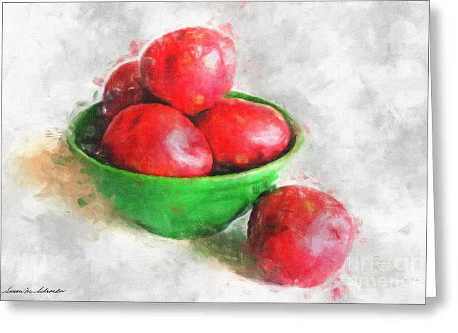 Red Potatoes In A Green Bowl Greeting Card by Susan Schroeder