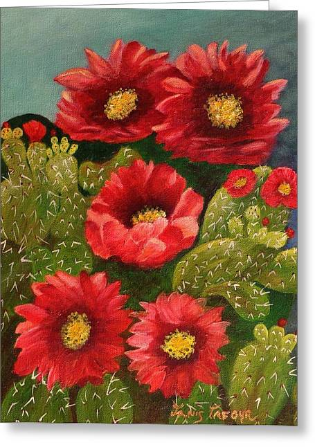 Red Prickley Pear Cactus Flower Greeting Card by Janis  Tafoya
