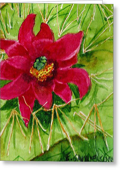 Red Prickly Pear Greeting Card by Eric Samuelson