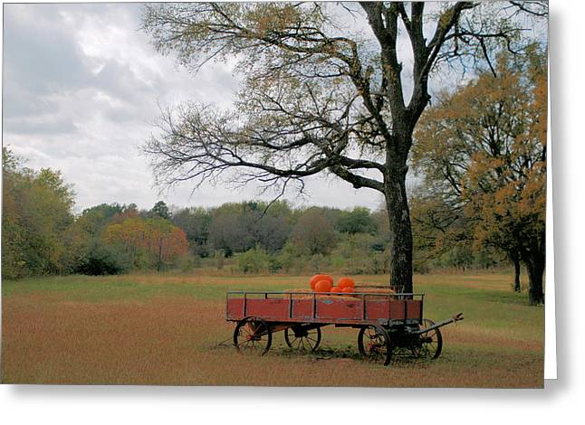 Red Pumpkin Wagon Greeting Card by Paulette Maffucci