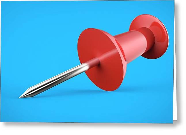 Red Push Pin Greeting Card