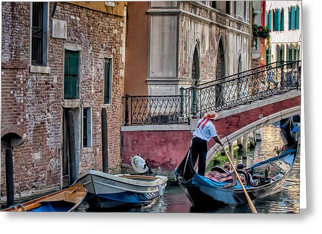 Red Ribbon Gondolier Greeting Card
