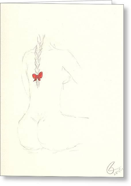 Red Ribbon Greeting Card by Paolo Marini