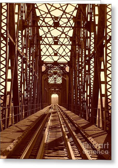 Greeting Card featuring the photograph Red River Train Bridge #1 by Robert ONeil