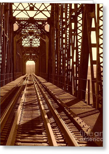 Greeting Card featuring the photograph Red River Train Bridge #2 by Robert ONeil