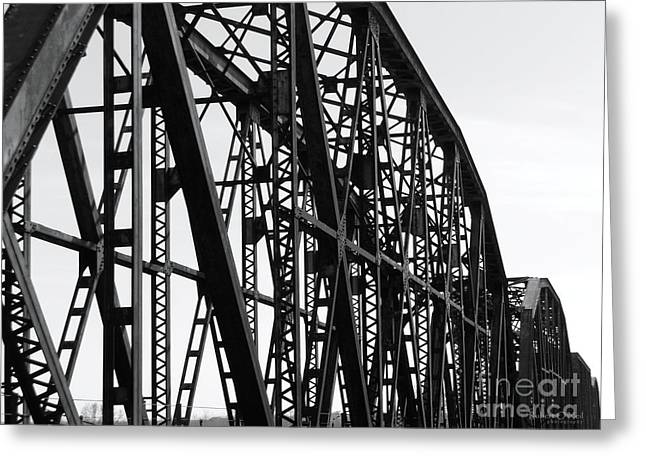 Greeting Card featuring the photograph Red River Train Bridge #4 by Robert ONeil