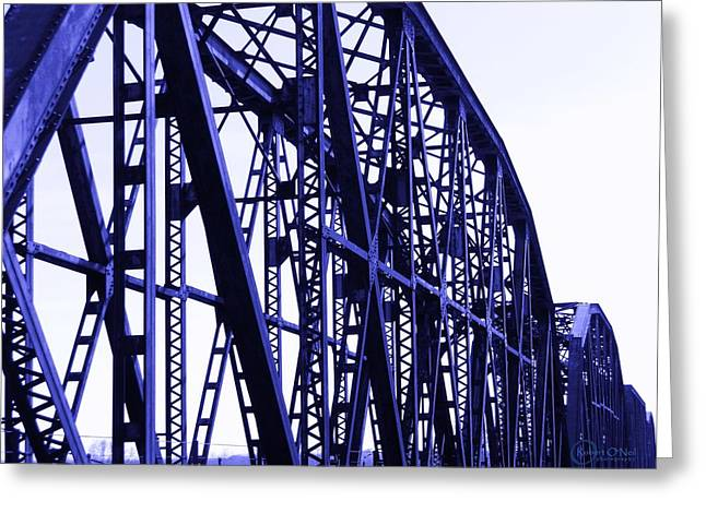Greeting Card featuring the photograph Red River Train Bridge #5 by Robert ONeil