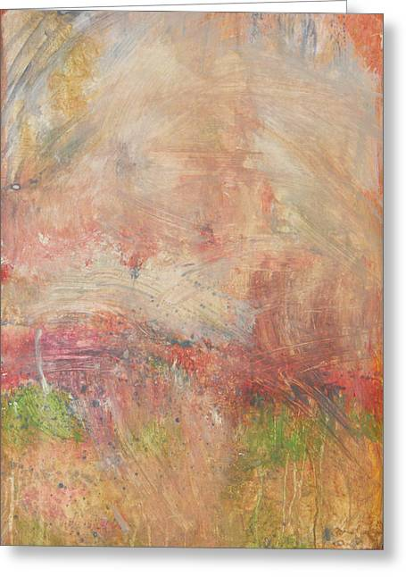 Greeting Card featuring the painting Red Road In Sunlight by John Fish
