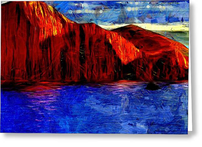 Red Rock Across The Water Greeting Card by Mario Carini