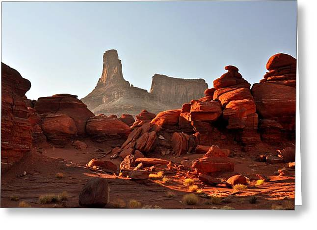 Red Rock And Spire Greeting Card by Marty Koch