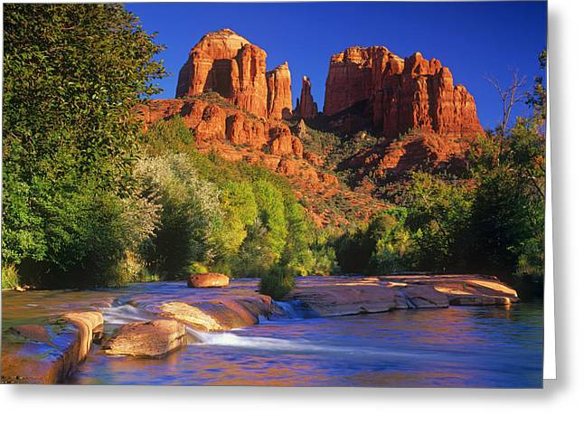 Red Rock Crossing Greeting Card by Timm Chapman