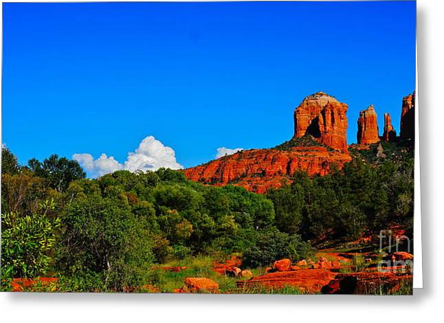 Red Rock Crossing Greeting Card by Tracey McQuain