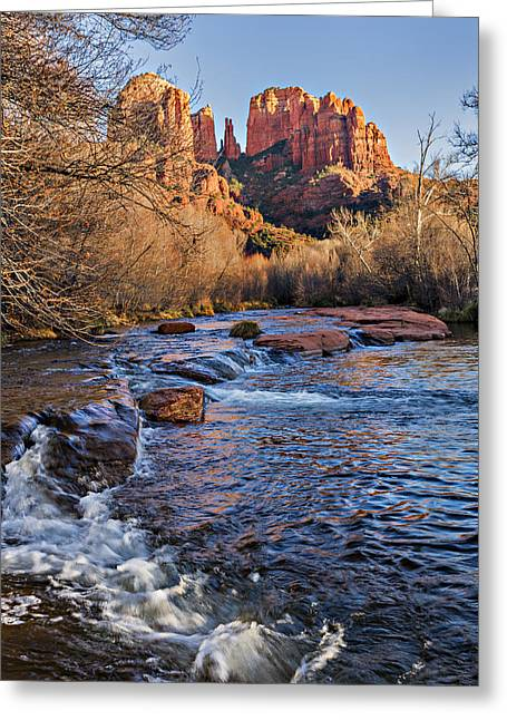 Red Rock Crossing Winter Greeting Card by Mary Jo Allen