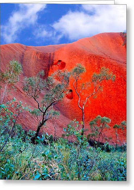 Red Rock Face Central Australia Greeting Card