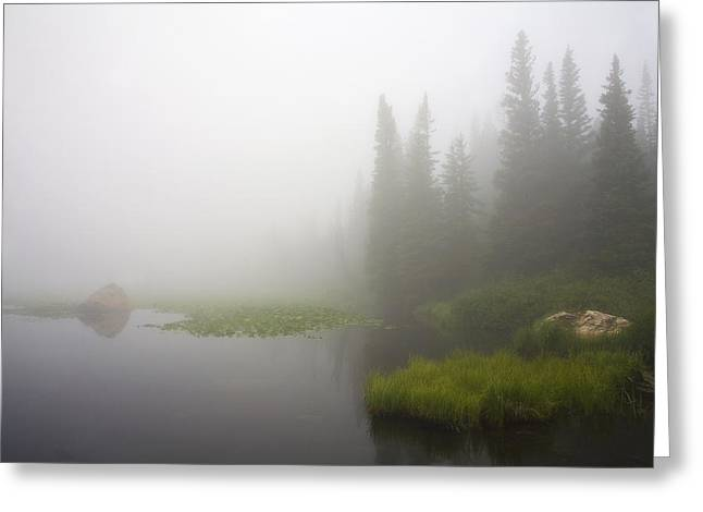 Red Rock Lake And Fog Greeting Card