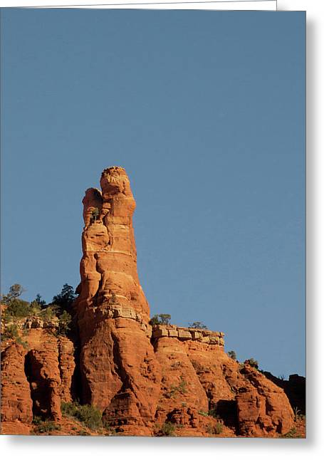 Red Rock Ledge With Rock Profile Greeting Card