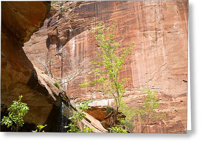 Red Rock With Waterfall Greeting Card