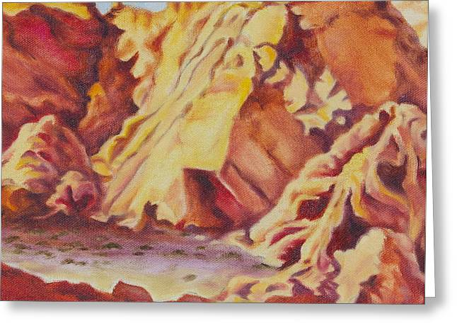 Greeting Card featuring the painting Red Rocks by Michele Myers