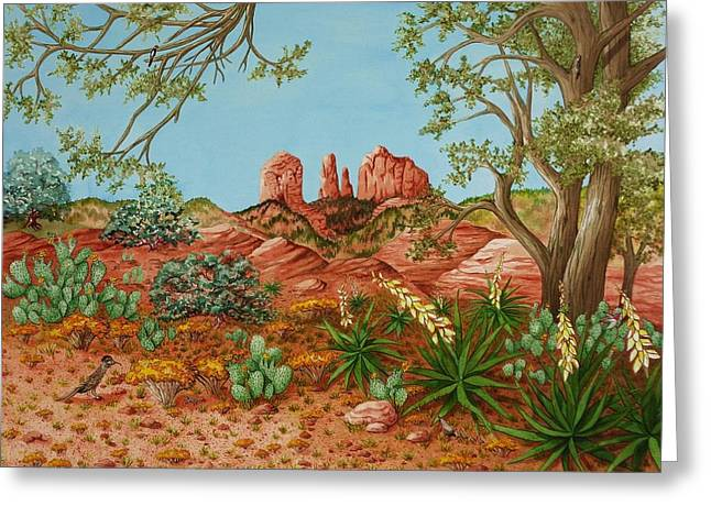 Greeting Card featuring the painting Landscapes Desert Red Rocks Of Sedona Arizona by Katherine Young-Beck