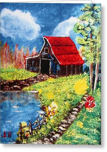 Red Roof Barn Impressionism Greeting Card by John Burch