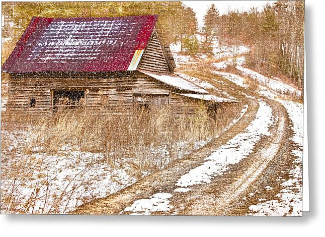Red Roof In The Snow  Greeting Card by Debra and Dave Vanderlaan