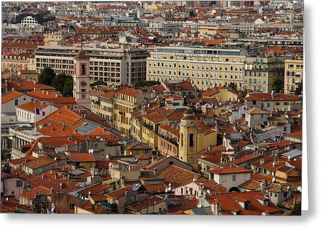 Red Roofs Of Europe - Nice France French Riviera Greeting Card