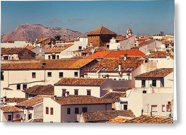 Red Roofs Of Ronda. Andalusia. Spain Greeting Card by Jenny Rainbow