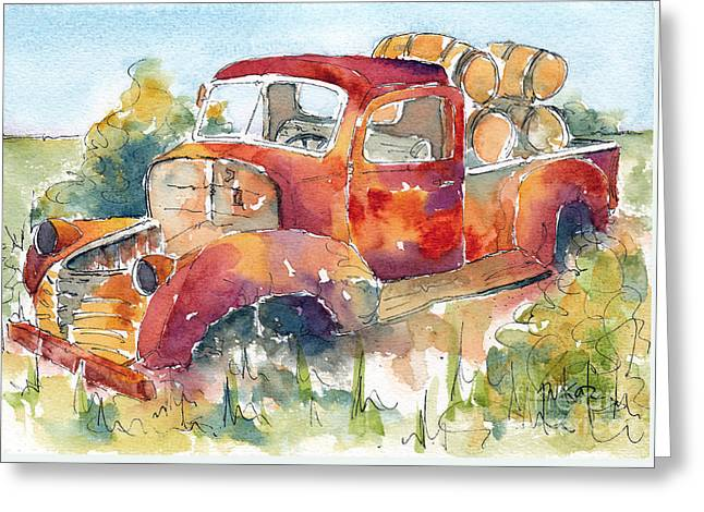 Red Rooster Rust Bucket Greeting Card