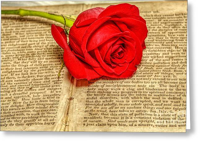 Red Rose And Old Book Still Life Two Greeting Card
